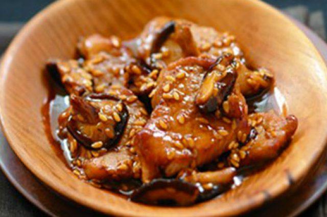 Fricassée filet mignon de porc, shitakés au caramel de soja