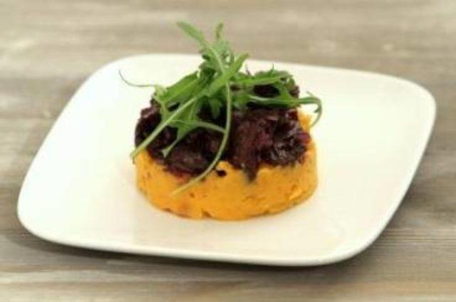 Effiloché de paleron de bœuf, purée de patate douce et noisette (sans gluten, sans lactose, sansœuf)