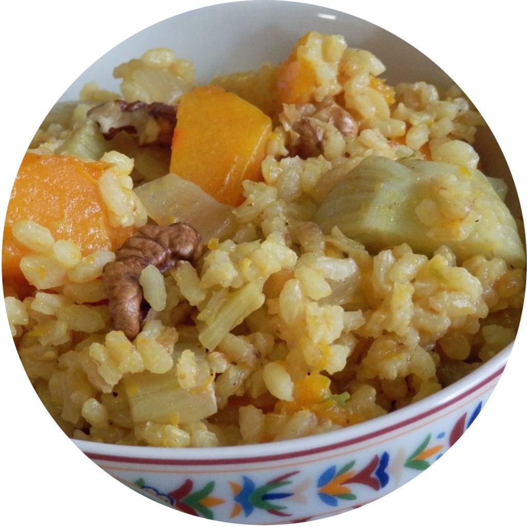 Casserole de riz fenouil & potimarron