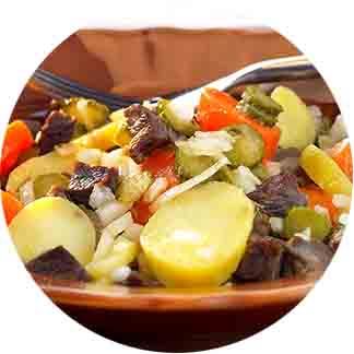 Salade de bœuf cuit et pommes de terre